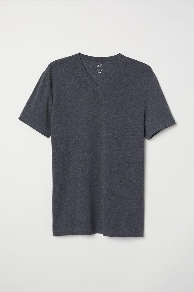 6620822e281 V-neck T-shirt Slim Fit - Dark grey marl - Men
