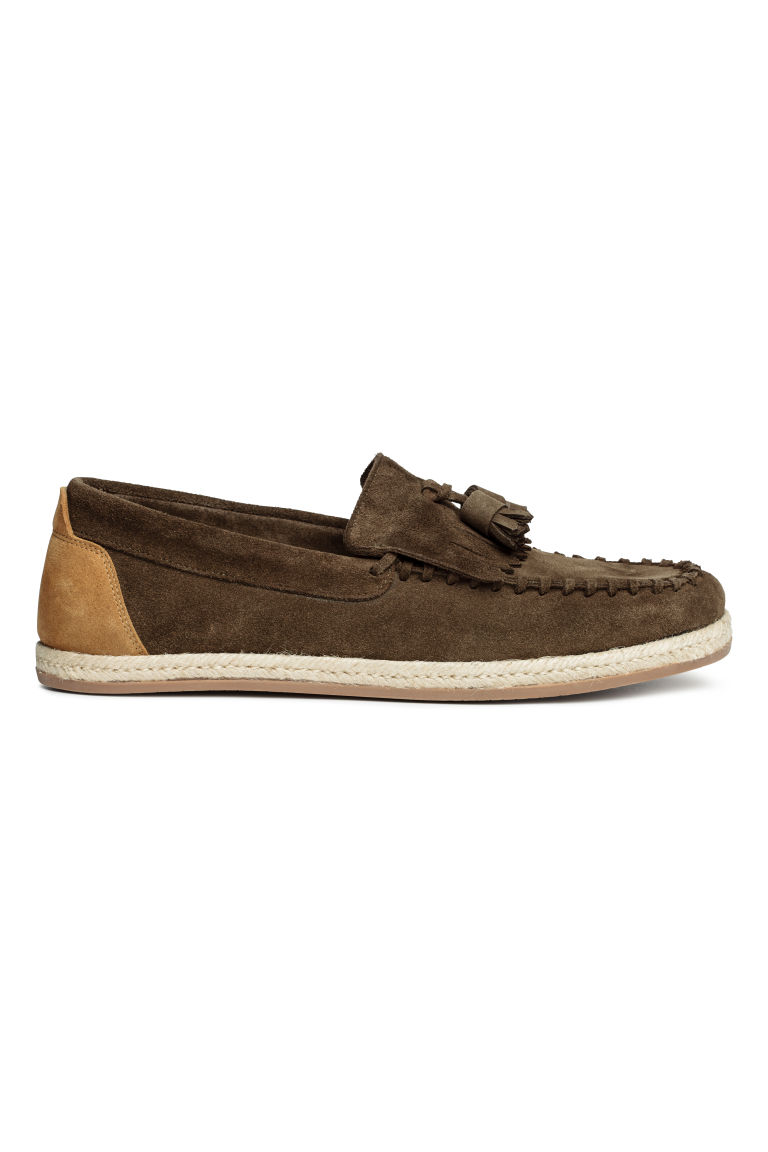 Leather loafers - Dark khaki brown - Men | H&M