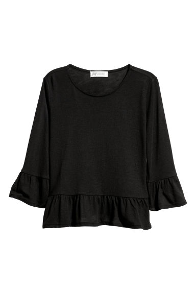 Flounced top - Black - Kids | H&M CN