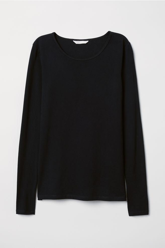 ba074d41 Long-sleeved Jersey Top - Black - Ladies | H&M ...