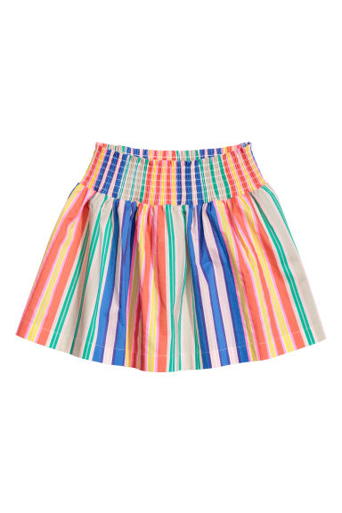 Cotton skirt with smocking - Multicoloured stripes -  | H&M CN