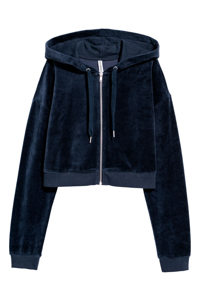 8a8cd1e58440 Cropped hooded velour jacket - Dark blue - Ladies   H&M ...