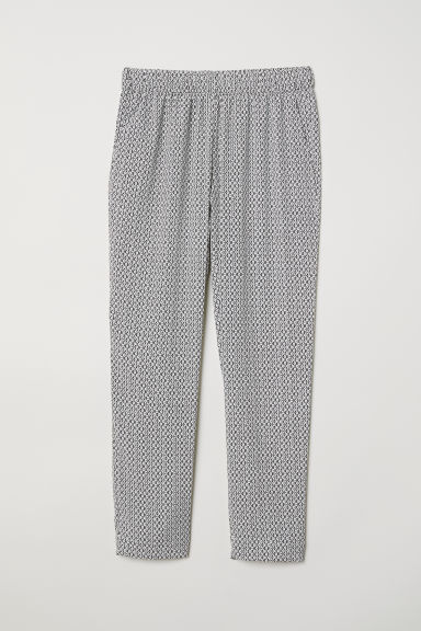 Crêpe trousers - White/Black patterned - Ladies | H&M CN