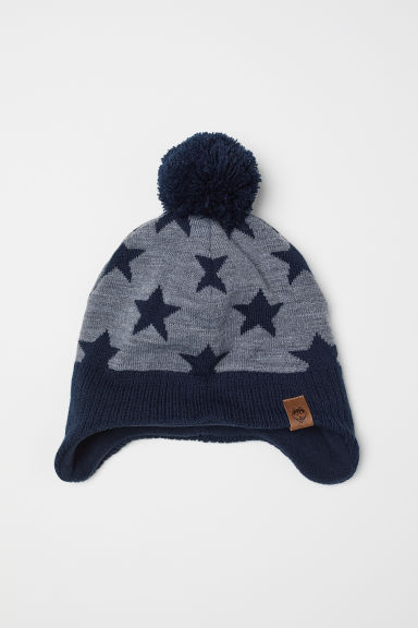 Fleece-lined hat with earflaps - Dark blue/Stars - Kids | H&M