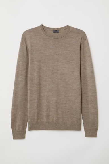 Merino wool jumper - Beige marl - Men | H&M CN