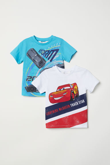 2-pack T-shirts - Turquoise/Cars - Kids | H&M