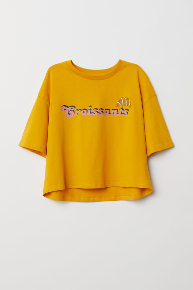 T-shirt with a motif - Yellow/Croissants - Ladies | H&M