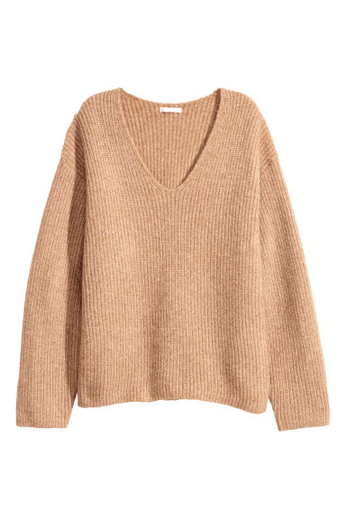 Wide jumper - Beige -  | H&M
