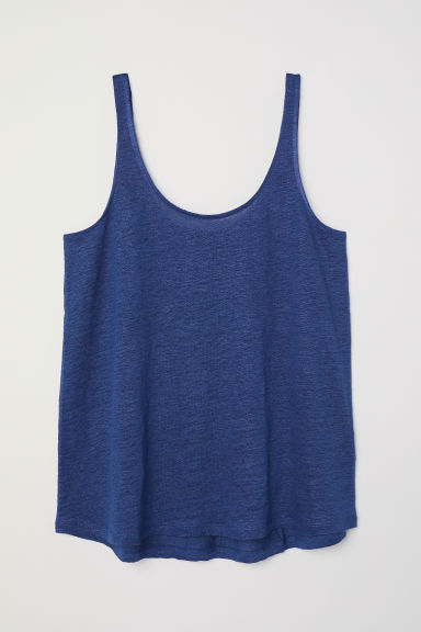 Linen jersey vest top - Dark blue - Ladies | H&M CN