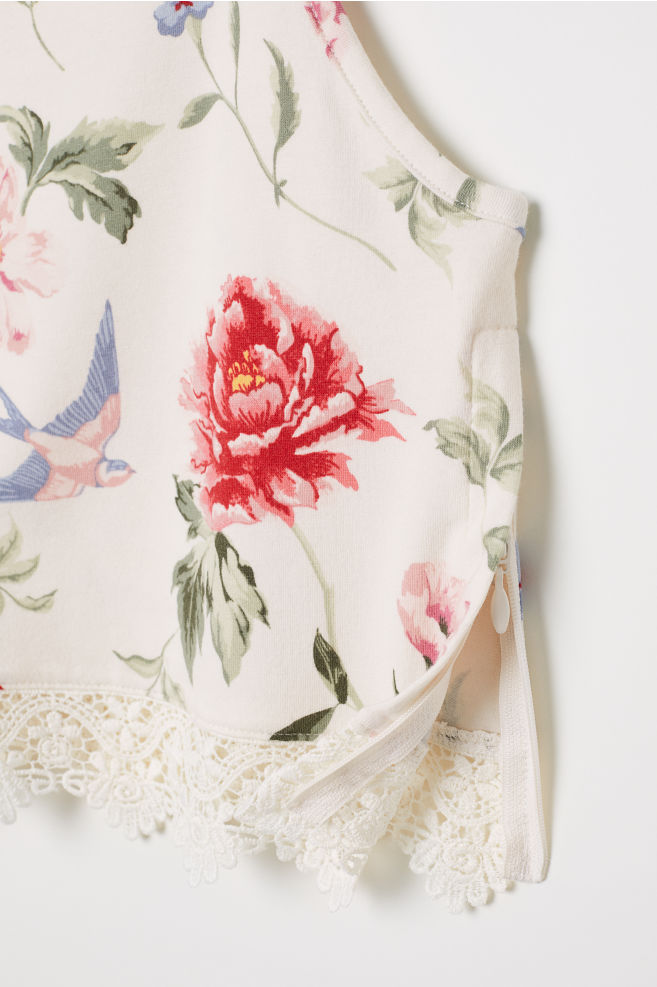 575fdaac4223f8 Tank Top with Lace - White/floral - | H&M ...