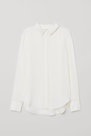Blouse with beading - White - Ladies | H&M
