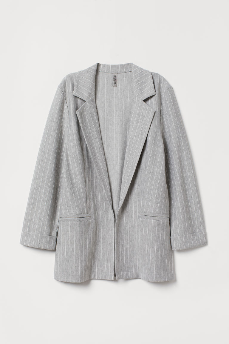 Jersey jacket - Light grey/Pinstriped -  | H&M CN