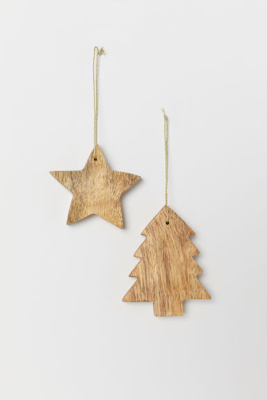 Wooden Christmas Decorations.2 Pack Christmas Decorations