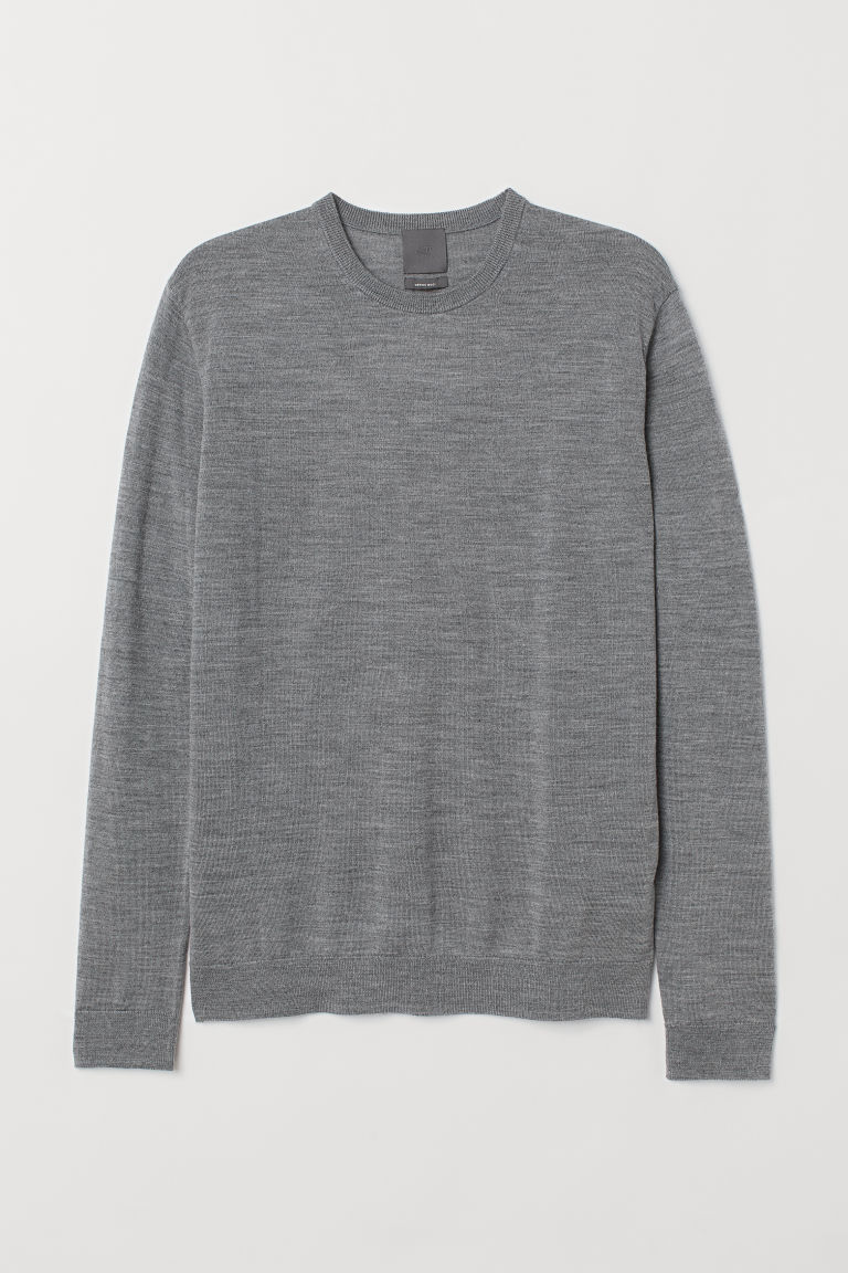 Merino wool jumper - Dark grey marl - Men | H&M IN