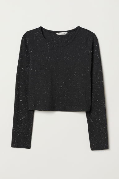Short jersey top - Black/Nepped - Kids | H&M