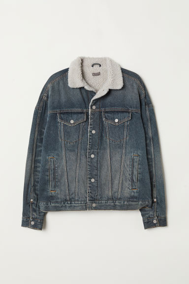 Pile-lined Denim Jacket - Denim blue -  | H&M US