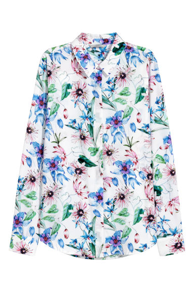Long-sleeved blouse - White/Floral -  | H&M