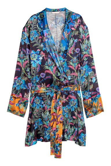 Patterned kimono - Dark blue/Patterned - Ladies | H&M CN