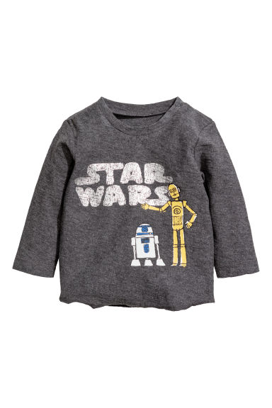 Printed jersey top - Dark grey/Star Wars - Kids | H&M CN
