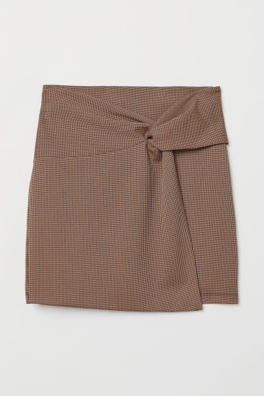 Tie-detail jersey skirt - Rust/Dogtooth-patterned - Ladies | H&M