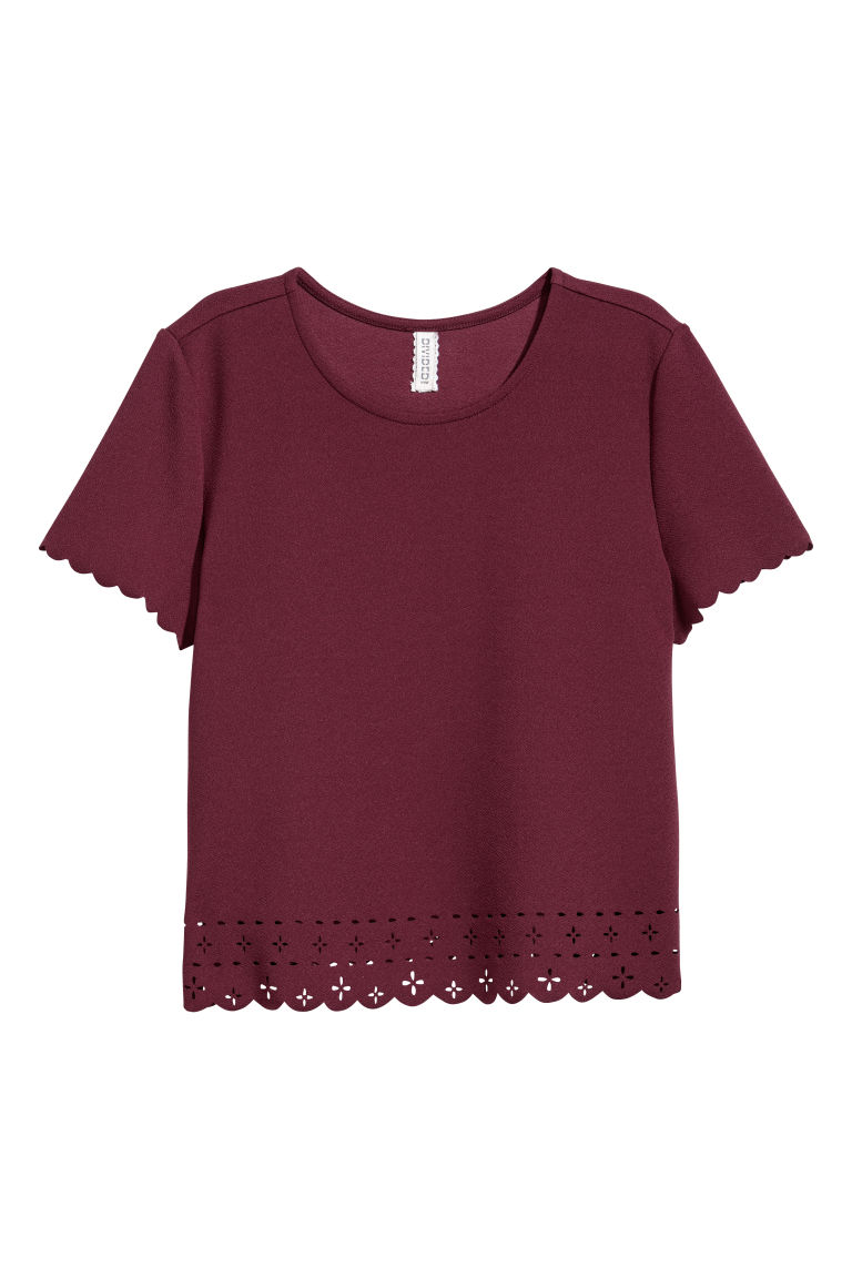 Top à bords festonnés - Prune - FEMME | H&M BE