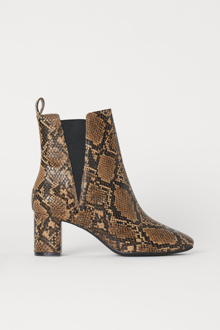 Ankle Boots with Side Panels - Lt. brown/snakeskin patterned - Ladies | H&M US