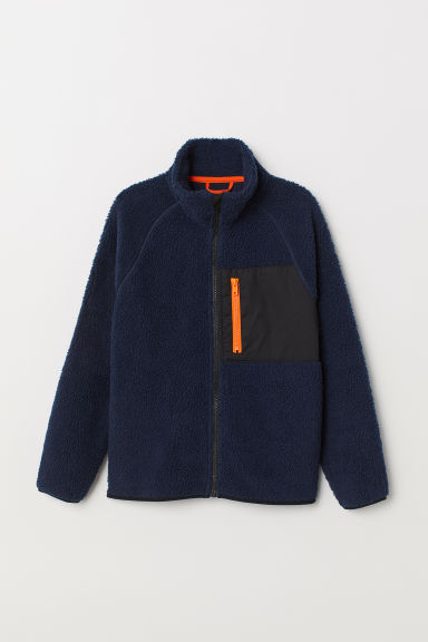 Fleece-lined pile jacket - Dark blue -  | H&M CN