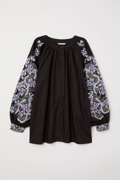 Blouse with embroidery - Black -  | H&M GB