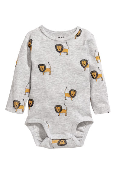 Long-sleeved bodysuit - Grey/Lion - Kids | H&M CN