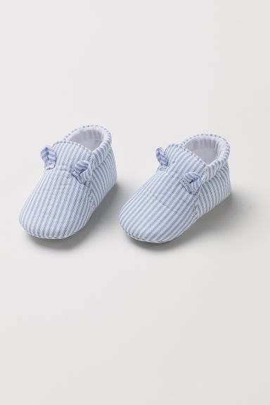 Cotton bootees - White/Blue striped -  | H&M CN
