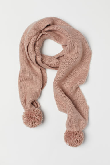 Scarf with pompoms - Powder pink -  | H&M