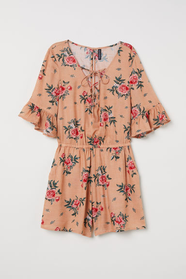 Playsuit with lacing - Orange/Floral -  | H&M