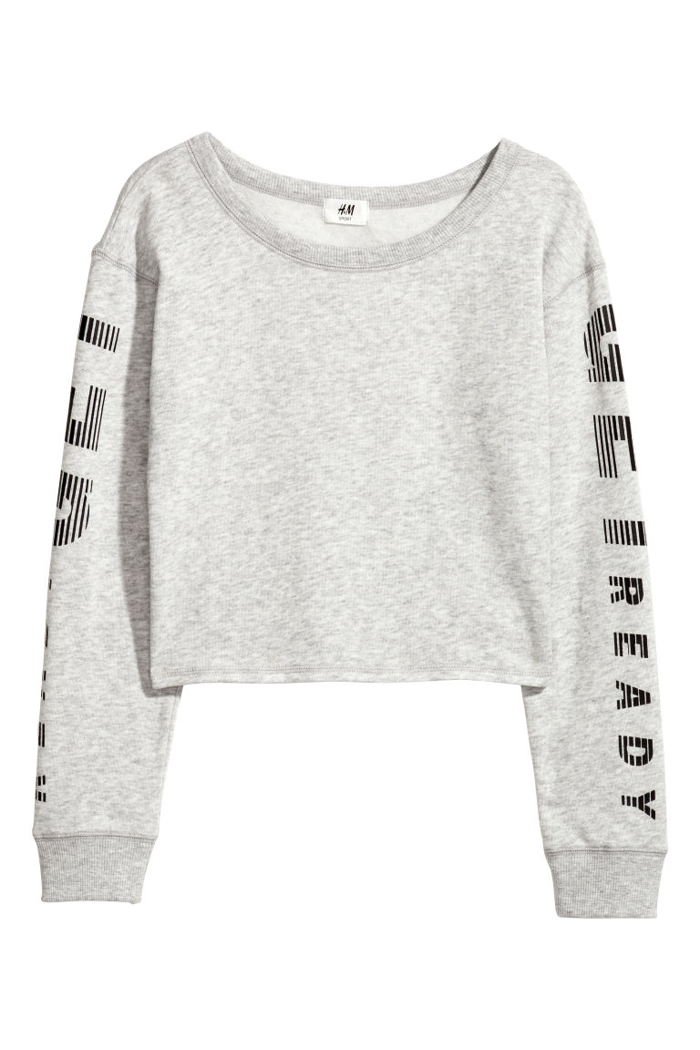 Cropped sports top - Light grey marl - Kids | H&M CN
