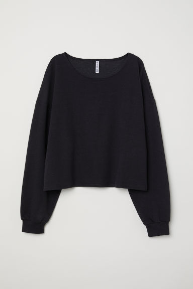 Short sweatshirt - Black -  | H&M CN
