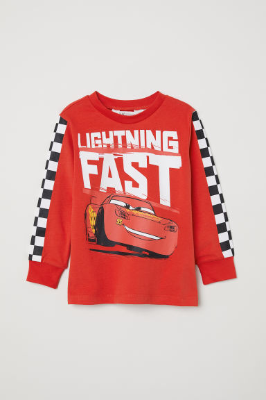Printed jersey top - Red/Cars -  | H&M