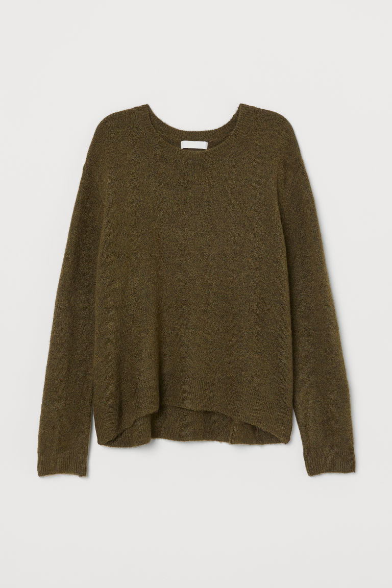 Fine-knit jumper - Moss green - Ladies | H&M GB
