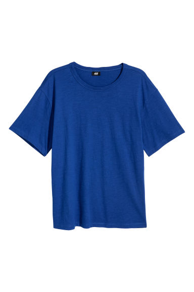 Slub jersey T-shirt - Bright blue - Men | H&M