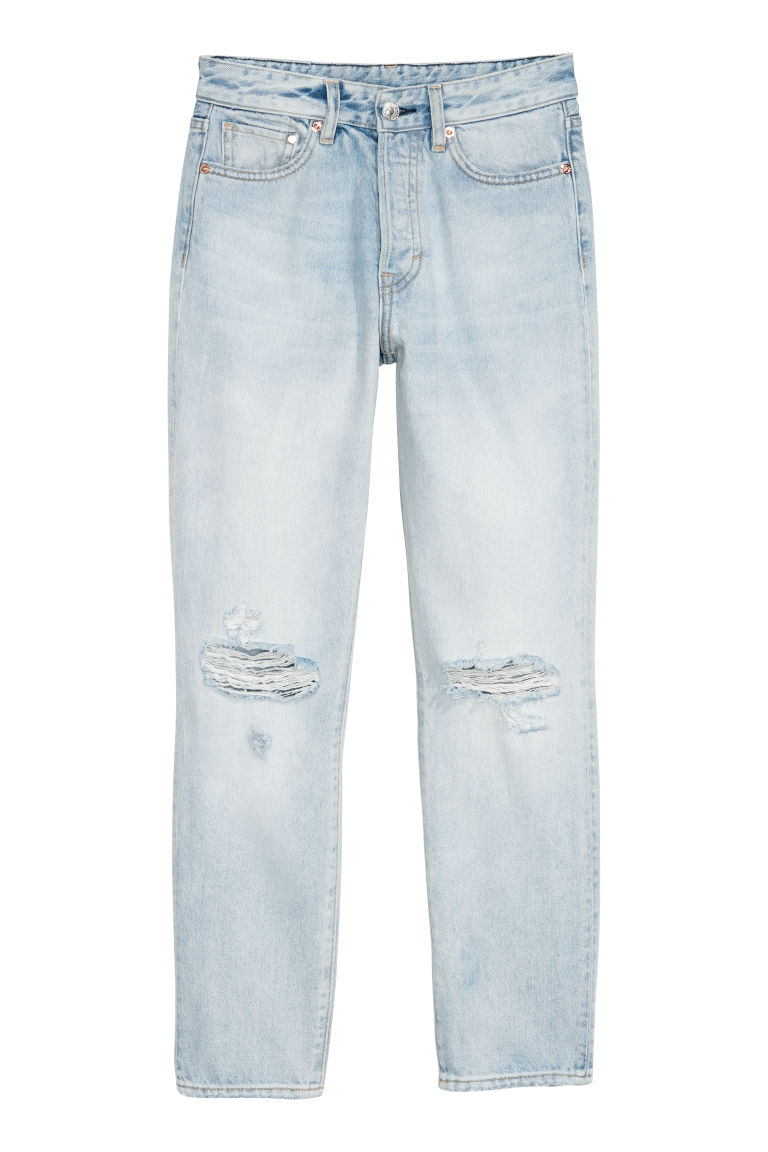 Mom Jeans - Light blue/Trashed - Ladies | H&M US