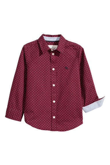 Cotton shirt - Burgundy/Spotted - Kids | H&M