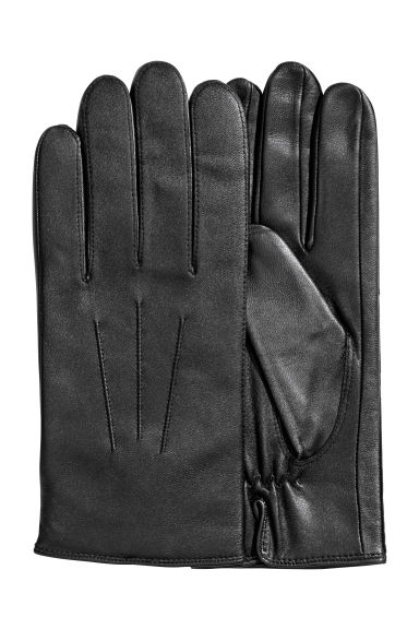 Leather gloves - Black -  | H&M CN
