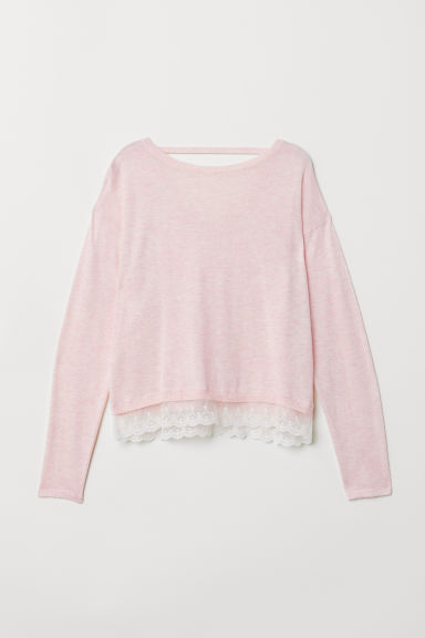 Fine-knit jumper with lace - Light pink - Kids | H&M
