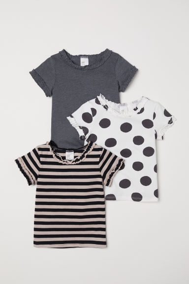 3-pack T-shirts - White/Spotted - Kids | H&M