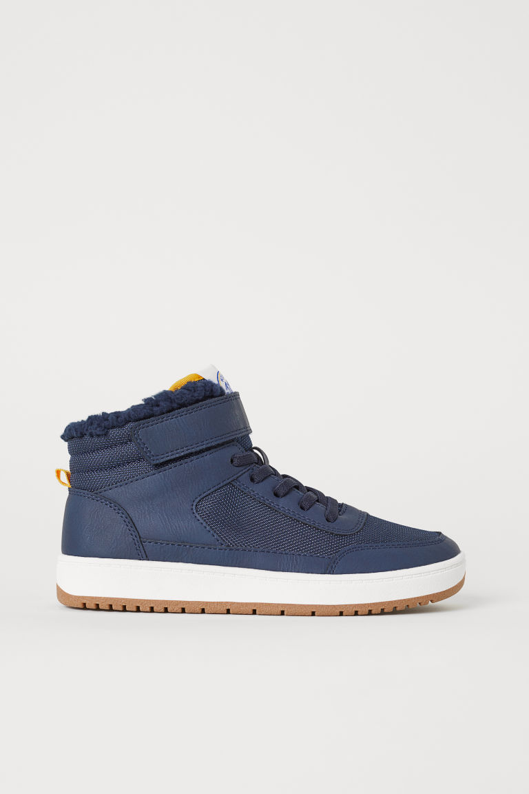 Pile-lined hi-tops - Dark blue -  | H&M CN
