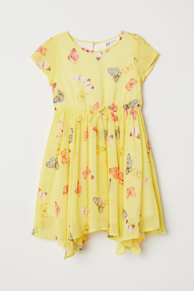 Chiffon dress - Yellow/Butterflies - Kids | H&M CN