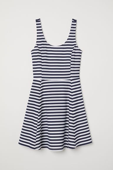Sleeveless jersey dress - Dark blue/White striped - Ladies | H&M