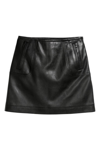 Imitation leather skirt - Black -  | H&M