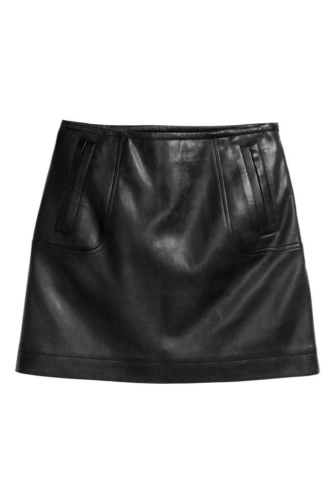 701f5dee97 Spódnica z imitacji skóry - Czarny - ONA