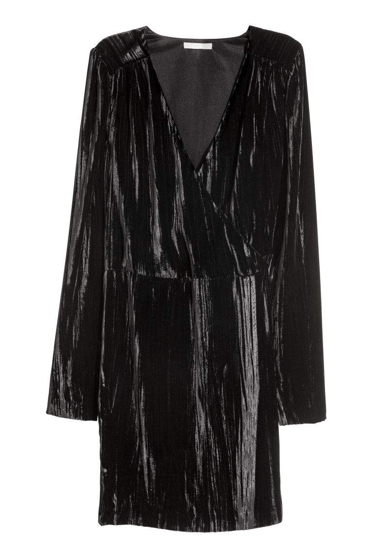 Crushed velvet dress - Black - Ladies | H&M