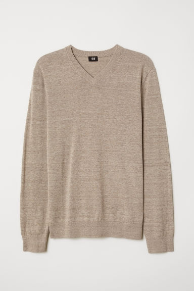 V-neck cotton jumper - Beige marl - Men | H&M