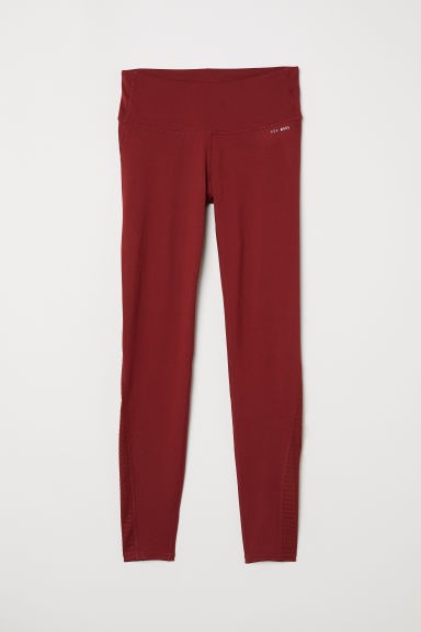 Yoga tights Shaping waist - Rust red - Ladies | H&M